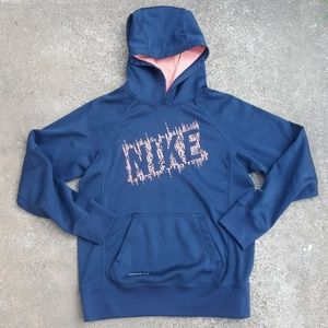 Nike Therma Fit Pullover Hoodie Girls L Navy Blue